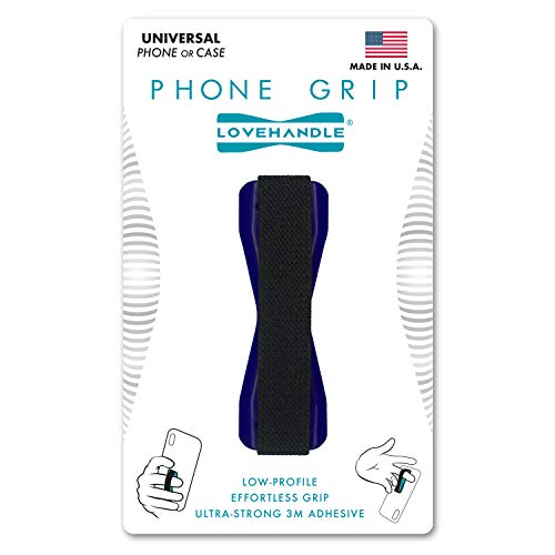 Cell Phone Grip Love Handle - Holds Device with just a Finger - Ultra Slim Pocket Friendly LoveHandle Finger Grip for Phone Mini Tablet - Grip it Securely for Texting, Photos and Selfies (Blue)