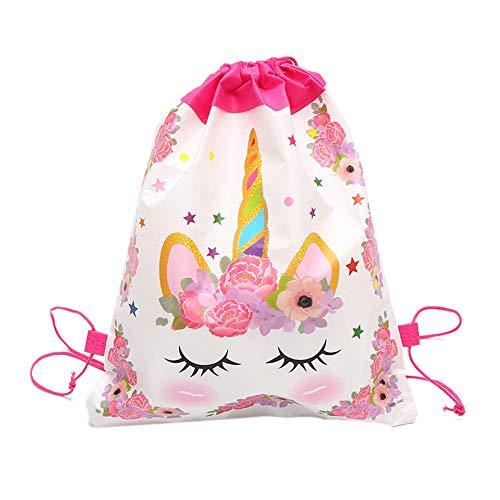 Bolsa De Cuerda 12pcs Unicornio del Morral del Lazo Gimnasio Cinch Sack para Los Niños del Regalo De Cumpleaños De Útiles Escolares