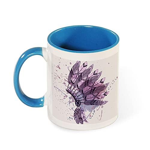 Taza de cerámica de dos tonos de 325 ml nativo americano indio jefe tocado Wi vector imagen tazas son el mejor regalo para familiares y amigos...