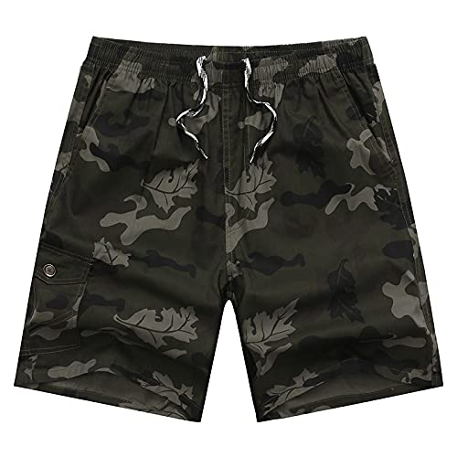 Pantalones Cortos De Hombre Elastic Waist Camouflage Shorts Men Breeches Camo Male Short Trousers Cotton Men Summer Men Shorts Casual 38 Darkgreencamo