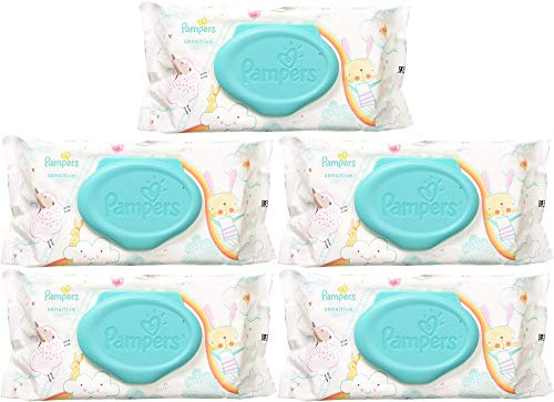 Pampers Wipes Sensitive - 56 ct, Pack of 5