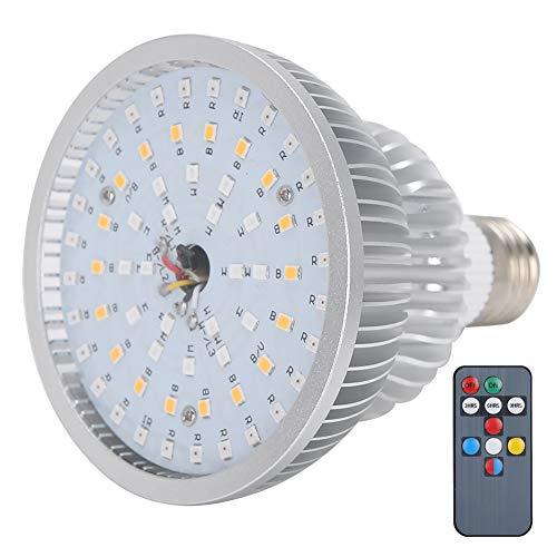 50W P30 LED Grow Light, 64 LED Lampadina per la crescita delle piante a spettro completo, Luminosità regolabile e funzione di temporizzazione, Lampada per orticoltura a LED con telecomando a 10 tasti