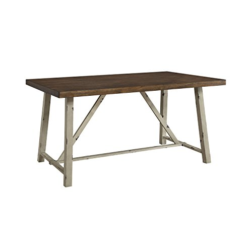 Wood Dining Table, Sturdy Metal Base, Seats for up to Four People, Rectangle Shape, Practical, Perfect for Everyday Meals, Kitchen, Bistro, Indoor Furniture