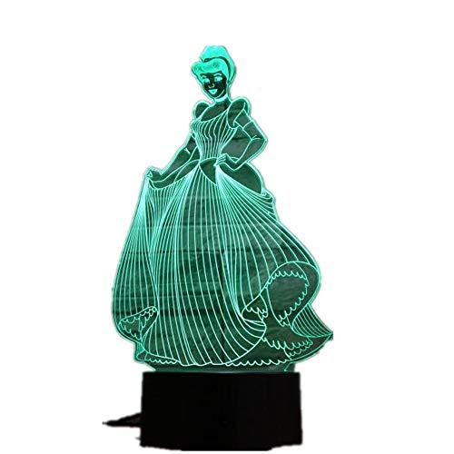 wangZJ 3d nachtlicht/lampe 7 farbwechsel geschenk/nachtlicht led/möblieren schreibtisch tischbeleuchtung/dekoration/spielzeug/cinderella