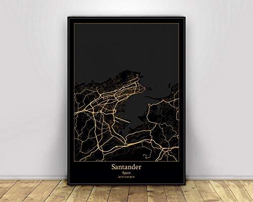 Cuadro Impresiones En Lienzo,Santander Black Gold World City Map Imágenes Impresas En Lienzo Simplicidad Moderna Póster De Arte De Pared Abstracto Decoración Nórdica Para El Hogar Pintura En Lienz