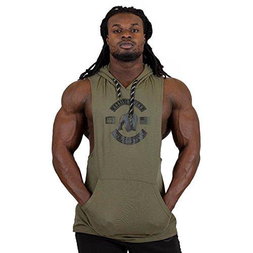 Gorilla Wear Lawrence Hooded Tank Top - armeegrün - Bodybuilding und Fitness Bekleidung Herren, XXL