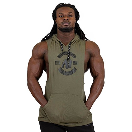 GORILLA WEAR - Tank Top mit Kapuze - Lawrence Hooded Herren - Fitness Gym Bodybuilding Army Green M