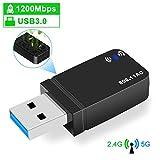 Rich【2020最新版】WiFi 無線LAN 超小型 USB3.0 1200Mbps 高速度 デュアルバンド 2.4G/5G 802.11ac技術 子機&親機 放熱穴デザイン Windows Vista/XP/10/8/7, Linux, Mac OS X対応