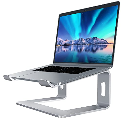 Soundance Laptop Stand, Aluminum Computer Riser, Ergonomic Laptops Elevator for Desk, Metal Holder Compatible with 10 to 15.6 Inches Notebook Computer, Silver