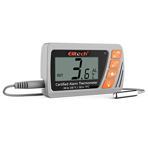 Elitech VT-10 - Termómetro de vacío con sensor externo para nevera o congelador para incubadora, enfriador de farmacia y alarma...