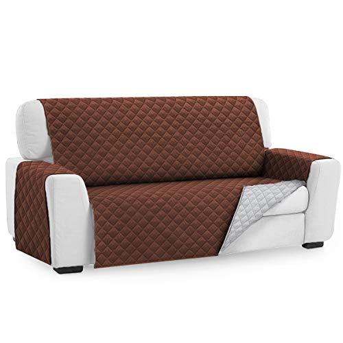 Tivedointv - Funda de sofá Acolchada Exclusiva y Suave - Funda Universal Adaptable para sofá de 2 plazas, Reversible, Color marrón y Blanco Crema - 18297