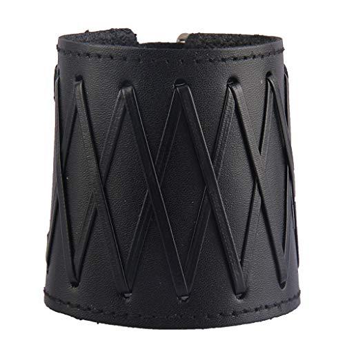 yotijar Protectores para los brazos de piel sintética con tirantes anchos, protección para puños con puño ajustable Negro
