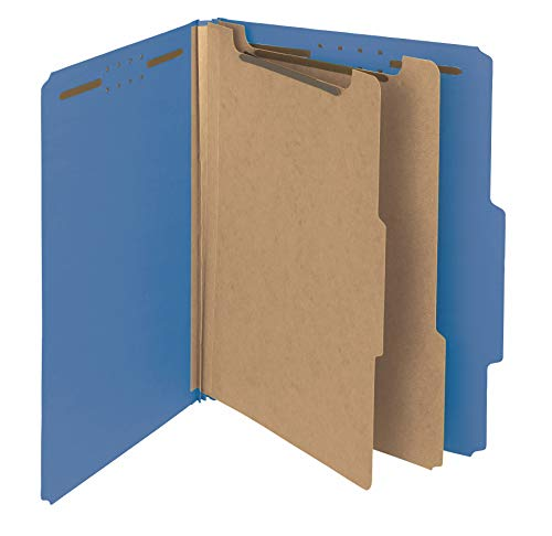 Smead 100% Recycled Pressboard Classification File Folder, 2 Dividers, 2' Expansion, Letter Size, Dark Blue, 10 per Box (14062)
