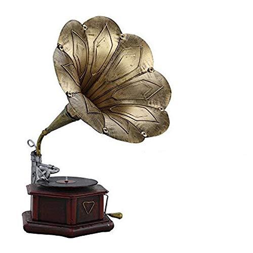 JIE KE Caja de música Jugador de Gel Negro Vintage Retro Estilo clásico fonógrafo gramófono Forma estéreo Altavoz Sistema de Sonido Caja de música 3.5mm Diente de Audio