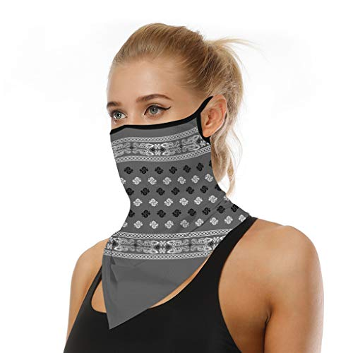 iQKA Women Men Outdoor Sport Retro Floral Print Seamless Face Mask Scarf No-Slip Mouth Cover Neck Gaiter with Ear Loops (One Size, J-C)