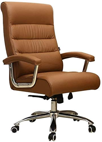 Armchairs GSN Computer Chair Large Size E-Sport Chair Fixed Armrest Ergonomic High Back Swivel Gaming Chair Htight Adjustable Leather Office Desk Chair for Study Office (Color : Camel)