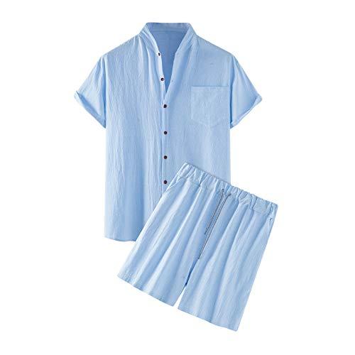 Conjunto de Deporte para Hombre,2 Piezas,Estilo playa Bolsillo Cordón Botones Color Sólido Cuello de Pico Algodón y lino Casual Movimiento Pijama
