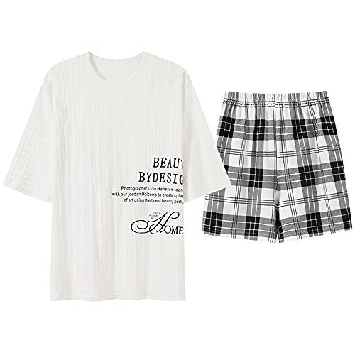 XFLOWR Camicia da Notte Loungewear Estate Maglia Cotone Delle Donne Pigiama Set Manica Corta Girocollo Casual Morbido Pigiameria Grande Formato XXL HBN1622