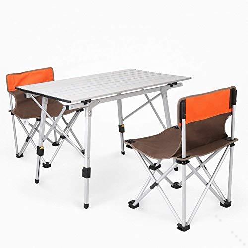 Z-GJM Outdoor-Esstisch Klapptisch und Campingstuhl Outdoor-Klapptisch und Campingstuhl Inklusive 2 Hockern Tragbares Picknick-Set Tragbarer Picknicktisch und Campingstuhl