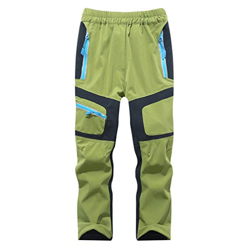 CIKRILAN Children Outdoor Anti-UV Lightweight Sports Trousers Boys Girls Breathable Quick Dry Long Pants(110,Army Green)