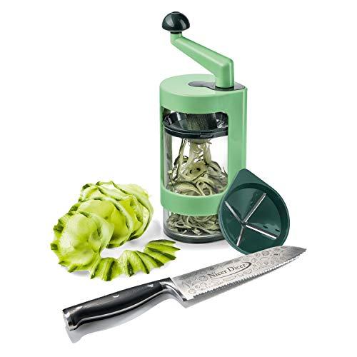 Genius Nicer Dicer Knife Professional Set (8 Teile) Chefmesser 20cm + Super Julietti - Kochmesser Fleischmesser aus Edelstahl mit Wellenschliff - Gemüseschneider Spiral-schneider