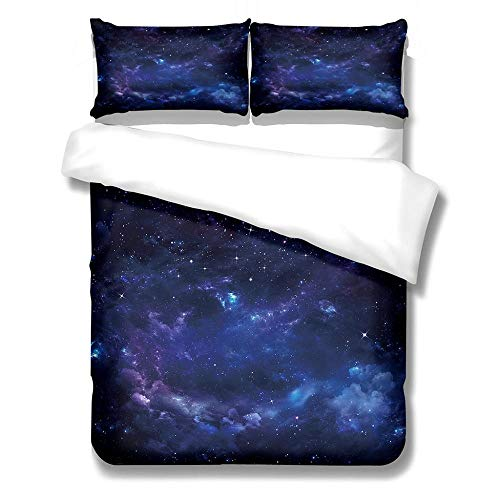 Duvet Cover Set Double-Zipper Closure with 2 Pillow covers Bedding Set Ultra Soft Hypoallergenic Microfiber Quilt Cover Sets Starry sky