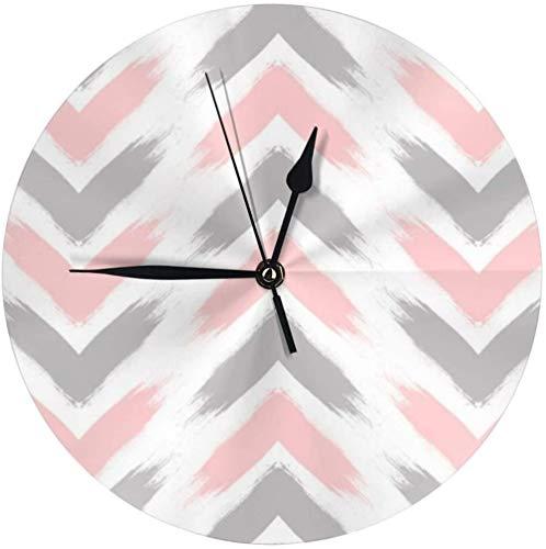 NIUMM Reloj De Pared Moderno Pastel Rosa Gris Flecha Patrón De Pinceladas Silencioso Reloj De Escritorio Redondo Reloj De Cubo para Dormitorios Cocina