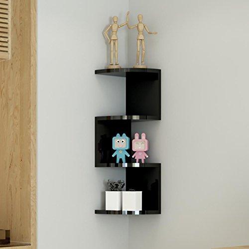FGbgj Väggmontering förvaringshylla vägghylla fyra nivåer fläktformad hylla hörn förvaring ställning trä soffa bakgrund vägg kök sovrum hörnhylla 66 x 20 cm vägg dekorativ (färg: B)