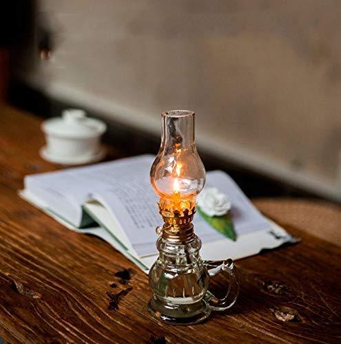 FA LEMON Tischlampen Retro Glas Petroleumlampe Vintage Buddha Glas Öllampe Hochzeitsfest Beleuchtung Wohnkultur (19cm)