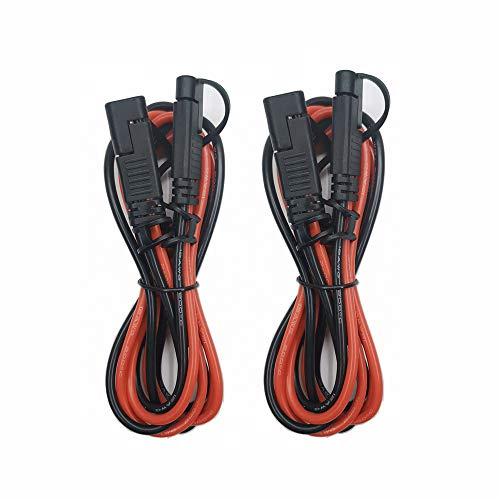 SAE Connector 12AWG Extension Cable - 12V-24V Motorcycle DC Battery Charging Cables Quick Connect Disconnect Extension Cord for Bike Jump Starter Solar Panels Configurations Color Panel Pump - 2 Pack