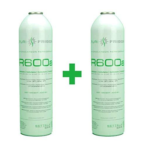 REPORSHOP - 2 Botellas Gas Refrigerante R600 420Gr Isobutano