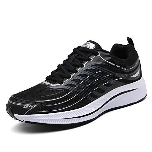 SOLLOMENSI Fitnessschuhe Herren Laufschuhe Sportschuhe Turnschuhe Joggingschuhe Sneakers Freizeit Schuhe Outdoor Straßen Traillauf Trainers 47 EU Schwarz Weiß