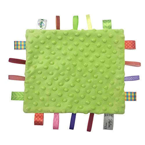 Baby Tags Security Baby Blanket Lovey Soothing Comforter Unisex Lovie Gift for Girls and Boys Infant Appease Towel Toys Sleep Helper, Green