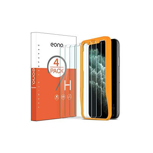 Eono Essentials 4 Stück Schutzfolie kompitabel mit iPhone 11 Pro Max und iPhone XS Max, 2.5D, 9H, Anti-Kratzen,Hülle Freundllich,mit Schablone