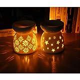 Queta Bruciatori per Oli Essenziali, 2 Pezzi Bruciatori in Ceramica di Oli Essenziali con candeliere per Decorazione Natalizia Yoga Relax Spa (Stelle + Fiori)