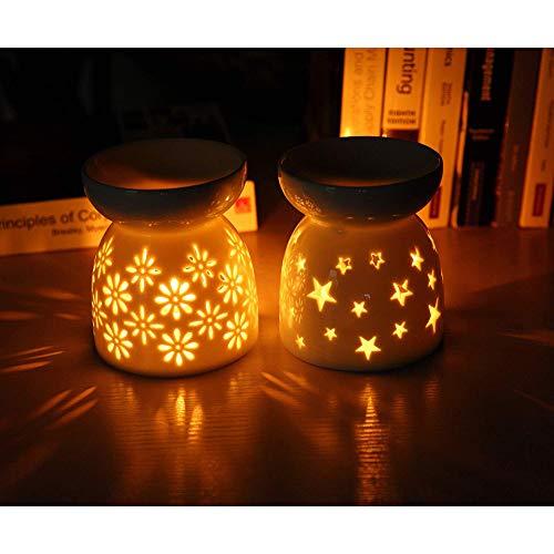 Queta milchweiße Duftlampen Teelichthalter Aromalampe aus Keramik weiß mit dem Kerzenhalter 2er-Set EIN Sternenformen11,5cm*9,6cm und EIN Blumenformen 11.5cm*9.6cm (9,6 * 11,5)