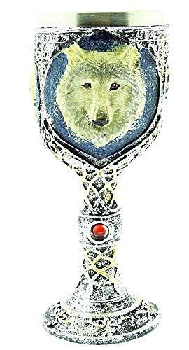 Middeleeuwse kelk - hond - wolf - wapenschild - beker - roestvrij staal - 3d - ridderkelk - hars - gothic - drankjes - origineel cadeau-idee - viking - wijn - halloween - middeleeuws horror