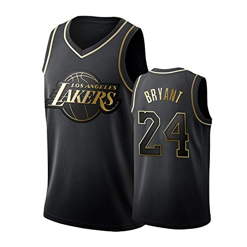 Black Gold Kobe Bryant #24 Herren Ärmellos Basketball Uniform Platinum Lakers Rundhals Stickerei Basketball Trikot Atmungsaktives Polyester Schwarz-L