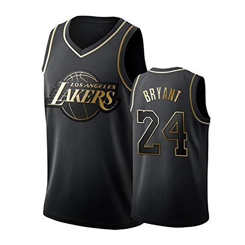 Black Gold Kobe Bryant #24 Herren Ärmellos Basketball Uniform Platinum Lakers Rundhals Stickerei Basketball Trikot Atmungsaktives Polyester Schwarz-S