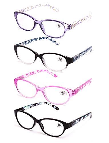 Pack de 4 Gafas de Lectura Vista Cansada Presbicia, Graduadas Dioptrías +1.00 hasta +4.00, Gafas de Hombre y Mujer Unisex con Montura de Pasta, Bisagras de Resorte, Para Leer, Ver de Cerca (+2.5)