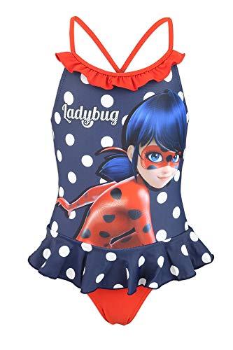 Miraculous LadyBug e Cat Noir - Costume da Bagno Intero 1 Pezzo Mare Piscina - Bambina - Prodotto Originale con Licenza Ufficiale [1810 Blu - 4A]