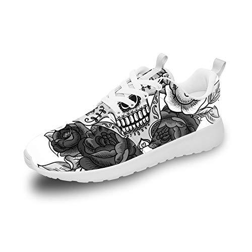 Mesllings Unisex Laufschuhe mit Totenkopf-Motiv, Schwarz und Weiß mit Blumen, leicht, sportlich, modische Schuhe für den Außenbereich, Mehrfarbig - Mehrfarbig - Größe: 42 1/3 EU