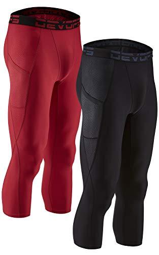 DEVOPS Men's 3/4 (2 Pack) Compression Cool Dry Tights Baselayer Running Active Leggings Pants (Large, (Embo-Pocket) Black/Red)
