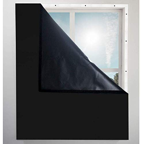 "Blackout Window Cover - Blocks Light - Reduces Window Noise - Best Sleep Ever Guaranteed - 42"" X 72"" (Black)"