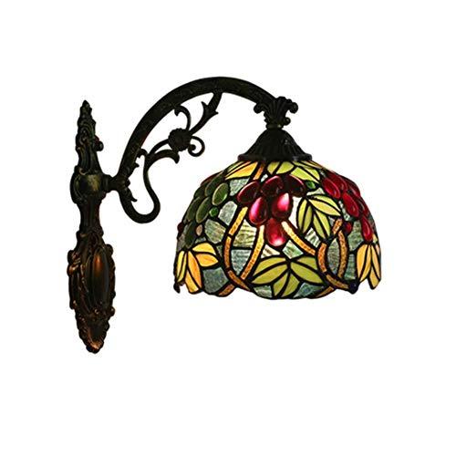 Plafondlamp Wandlamp -Creative Grape Ontwerp Muurlampen -Stained Glass lampenkap muur Light-Slaapkamer Living Room Study Wandlamp/Mirror Headlight E27 (Size : 1)