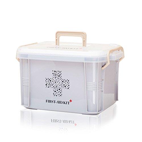 Levoberg Medizinbox abschließbar Grau | Erste Hilfe-Aufbewahrungskasten mit getrennten Fächer | Erste Hilfe Box aus PP mit Tragegriff | 26,5 * 18,5 * 14,5cm