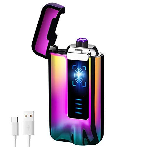 KIMILAR Encendedor Eléctrico USB, Mechero Recargable, Doble Arco & Sensor Tactil & A Prueba de Viento & Impermeable & Sin Llama Compatible con Cocina Cigarrillos Velas (Vistoso)