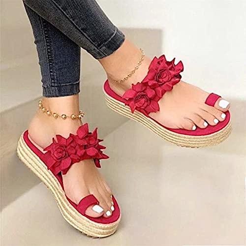 Riyueyi Sandalias para Mujer Casual Summer Wedge 2021 Retro Romano T Correa Sandalias Moda Roman Flip Floop Open Toe Casual Summer Zapatos,Rojo,US7.5/EU39