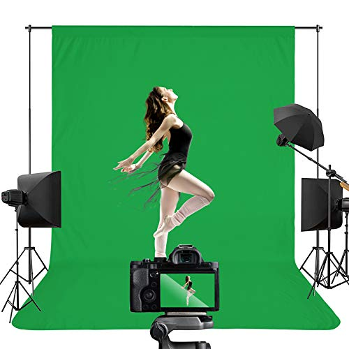 Green Screen Backdrops, Portable Solid Color Photography Backdrops Cloth, 5 x 7 ft Collapsible Green Backdrop Background for Photography, Video Studio