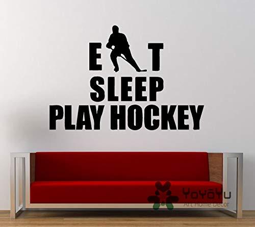 Eat Sleep Play Hockey Sport Game Outdoor Wall Decal Vinyl Wandaufkleber Wohnzimmer Wohnzimmer Dekoration Ice-Hockey Poster 57 x 89 cm